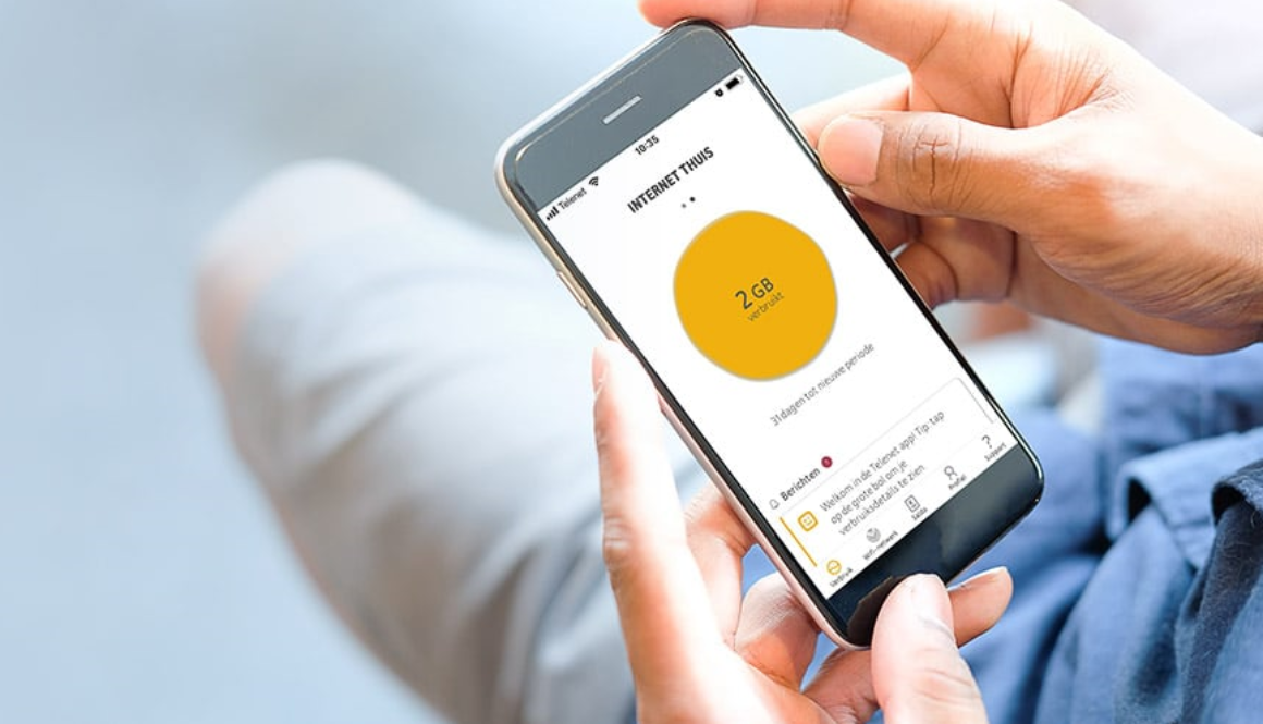 De telenet app op een smartphone scherm